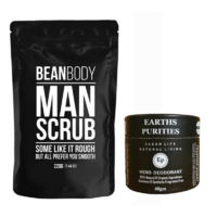 Bean Body Man Scrub & Earths Purities Men's Natural Deodorant Paste