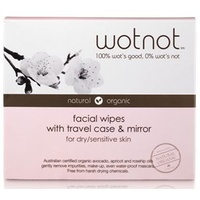 Wotnot Facial Wipes For Dry/Sensitive Skin - Travel Case With Mirror