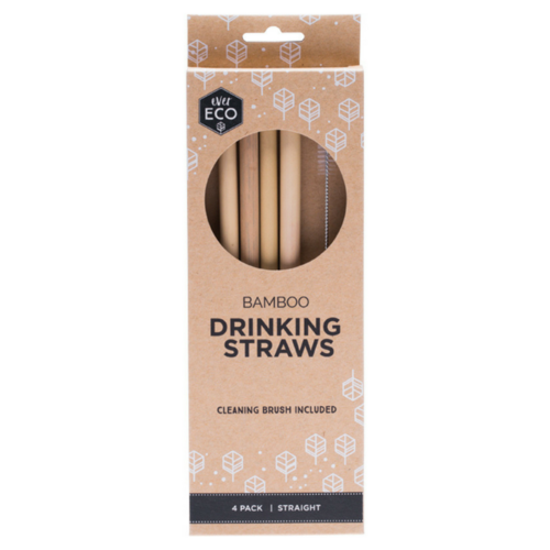 Ever Eco Reusable Bamboo Straws 4 Pack + Cleaning Brush